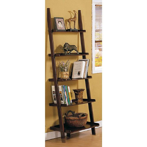 Walnut 5-tier Leaning Ladder Book Shelf