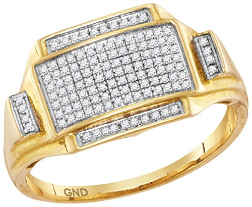 10kt Yellow Gold Mens Round Pave-set Diamond Rectangle Cluster Ring