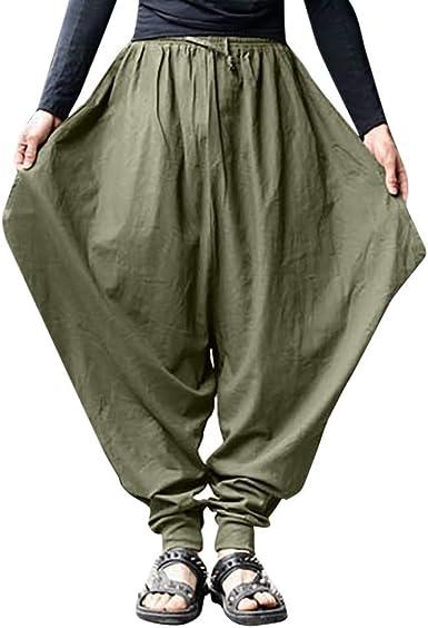Chihop Pantaloni Harem da Uomo Cotton Linen Baggy