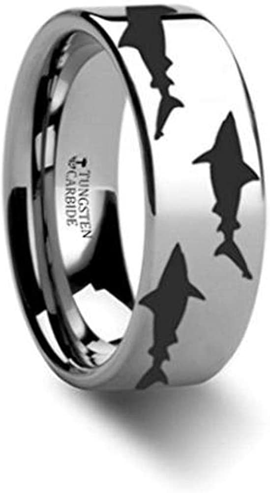 Thorsten SEA Life Shark Predator Fish Sea Print Pattern Ring Inside Engraved Flat Tungsten Ring 6mm Wide Wedding Band with Custom Inside Engraved Personalized from Roy Rose Jewelry