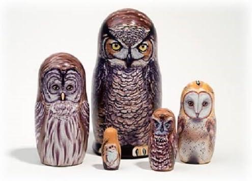 North American Owls 5 Piece Russian Wood Nesting Doll Matryoshka Stacking Dolls