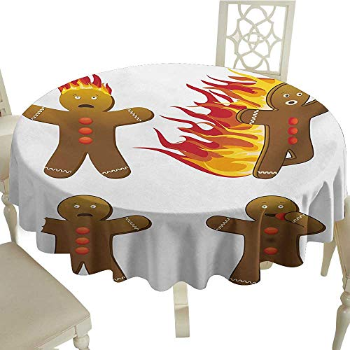 plaid round tablecloth 54 Inch Gingerbread Man,Gingerbread Man in Humorous Positions Caught on Fire Eaten Figures,Caramel Red Yellow Suitable for Party,outdoors,Farmhouse,coffee shop,restaurant More