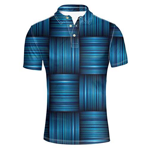 HUGS IDEA Fashion Short Sleeve Men's Golf Classic Polos Shirt Striped T-Shirts Button Down Tee Tops