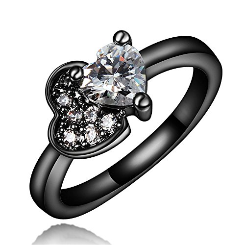 New Brand Jewelry Fashion Jewelry Black Wedding Engagement Ring Size 8 by 17maimeng