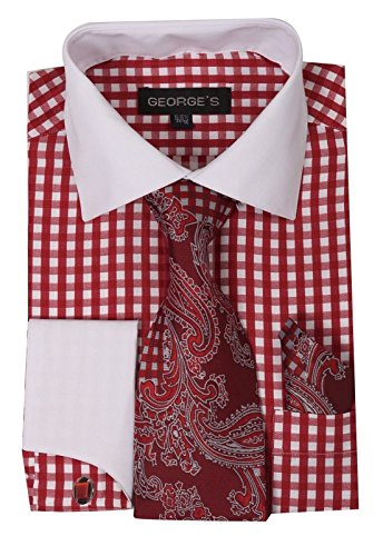 Fortino Landi Gingham Check Pattern High Fashion Dress Shirt With Tie set, French Cuff & Cufflinks AH6155-Red-17-17 1/2 -36-37 ()