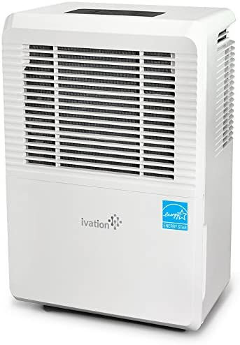 Ivation 70 Pint Energy Star Dehumidifier – Large-Capacity For Spaces Up To 4,500 Sq Ft – Includes Programmable Humidistat, Hose Connector, Auto Shutoff Restart, Casters Washable Air Filter, White,