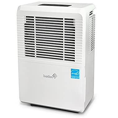Ivation 70 Pint Energy Star Dehumidifier - Large-Capacity For Spaces Up To 4,500 Sq Ft – Includes Programmable Humidistat, Hose Connector, Auto Shutoff / Restart, Timer, Casters & Washable Air Filter