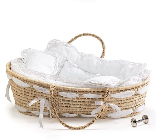 Buy Burton and Burton Natural Baby Moses Basket with White Lace Bedding