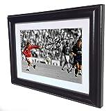 Signed Black Soccer David Beckham Halfway Line Goal Manchester United Autographed Photo Photograph Picture Frame Gift SM