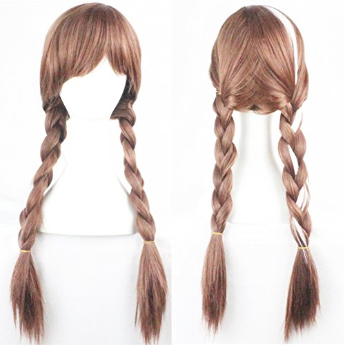 Anna Wig for Frozen Costumes Play and 1 Wig Cap, Brown Double Braid Hair Cosplay Wigs for Daily /Cosplay /Party /Fun, Comfortable/Breathable/ Durable Rose Net; wig019A ()