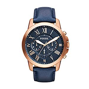 Fossil Grant Chronograph Blue Dial Blue Leather Watch for  Men  - FS4835