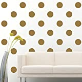 "Amaonm Set of 84pcs 2.7"" Removable Gold Metallic Vinyl Polka Dot Wall Decor Wall Decals Round Circle Dots Art Peel & Stick Wall Stickers for Kids Girls room Nursery room Bedroom Living room"