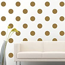 """Amaonm Set of 84pcs 2.7"""" Removable Gold Metallic Vinyl Polka Dot Wall Decor Wall Decals Round Circle Dots Art Peel & Stick Wall Stickers for Kids Girls room Nursery room Bedroom Living room"""