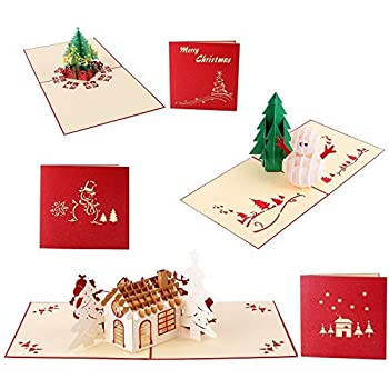 Amazon ciamlir 3d laser cut pop up greeting card christmas 3d christmas cards ohuhu 3 packs 3d christmas greeting holiday card for xmas include m4hsunfo
