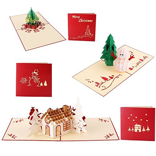 3D Christmas Cards, Ohuhu 3 Packs 3D Christmas Greeting Holiday Card for Xmas - Include 1 Christmas Tree Card, 1 Snowman Card and 1 Christmas Sled Card - 3 PCS Envelopes Included