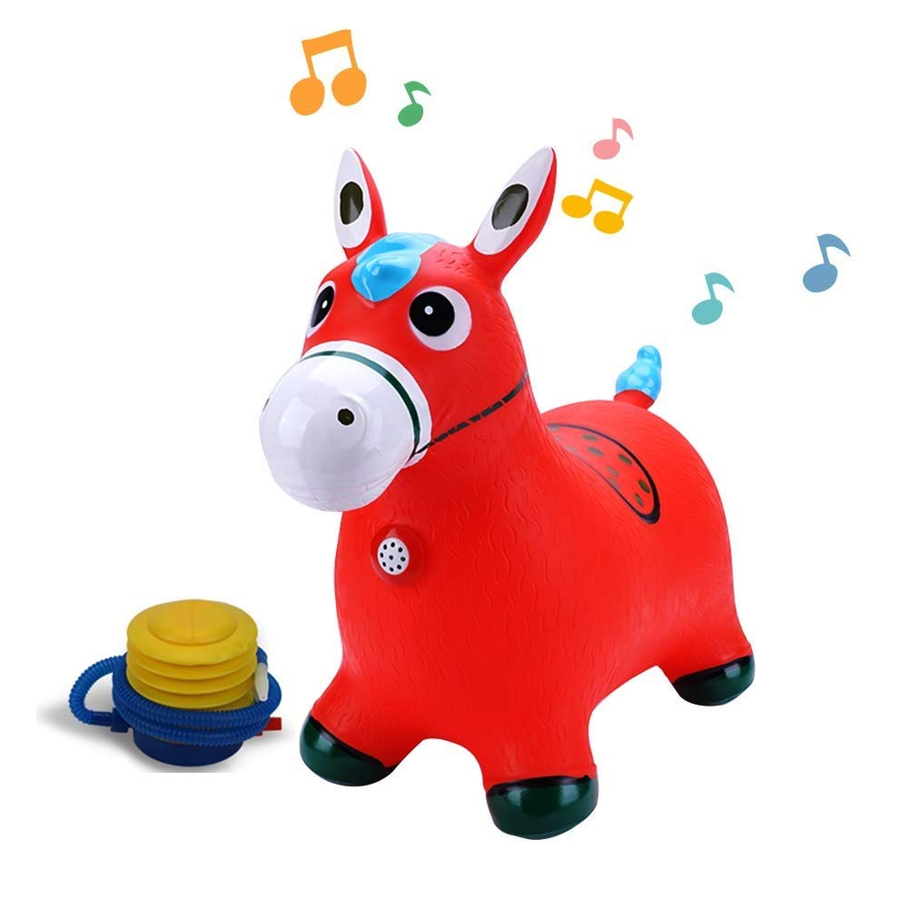 WHTBB Red Horse Hopper, Pump Included (Inflatable Space Hopper, Jumping Horse, Ride-on Bouncy Animal) by WHTBB