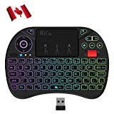 Rii Wireless Keyboard, RGB Backlit Keyboard,Multi-Media Touch Keyboard Remote with Scroll Button,Rechargeable