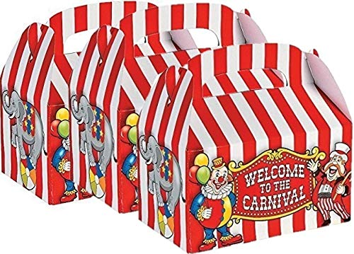 Fun Express Under the Big Top Empty Favor Boxes Party Accessory (3-Pack of -