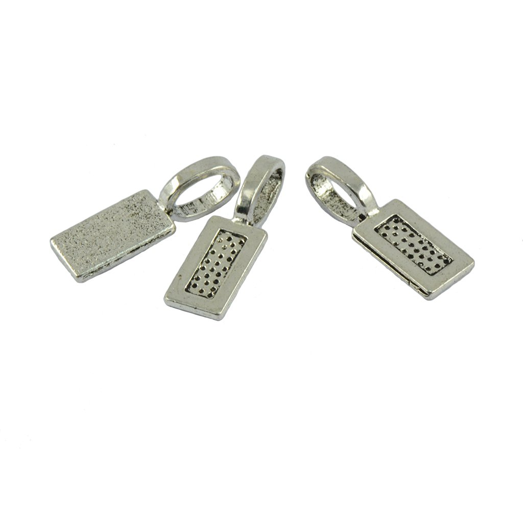 MonkeyJack 50 Pieces Empty Rectangle Bezel Base Rectangle Glue On Bails Pendant Cabochon DIY Findings Jewelry