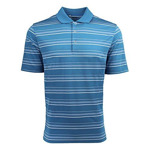 (adidas Golf Mens puremotion Textured Stripe Polo A123 -SOLAR BLUE/W S)