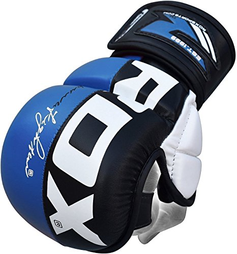 RDX MMA Gloves Grappling Martial Arts Punching Bag Maya Hide Leather Mitts Sparring Cage Fighting Combat UFC Training from RDX
