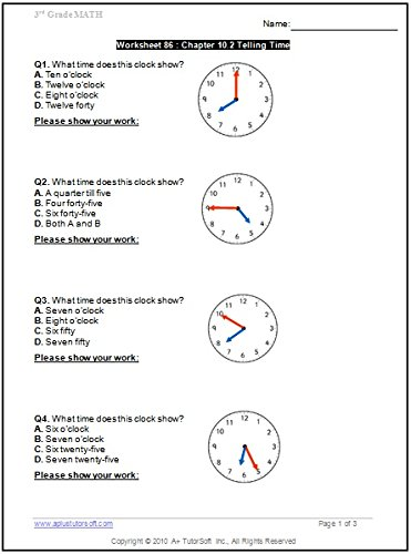 3rd Grade Math Workbook (Printed B&W Plasti-coil bound) (130 ...