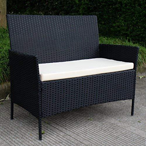 Conjunto de Muebles Poli Ratán para Jardín Terraza Patio - 3 Cojines Blancos 1 Mesa de Café 1 Sofá Biplaza 2 Sillas / Negro