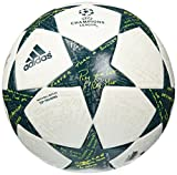 adidas Performance Champion's League Finale Top Training Soccer Ball, White/Vapor Steel Grey/Tech Green, Size 5