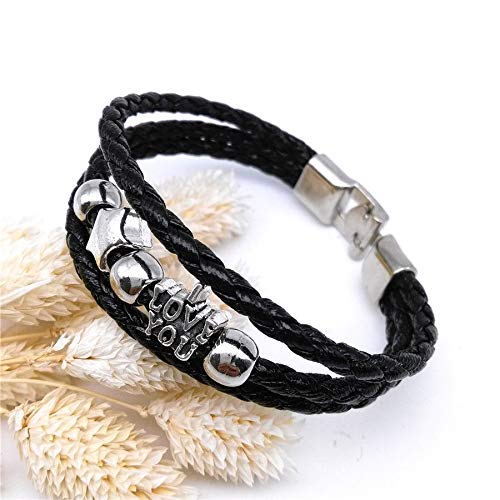 I Love Your Lucky Star Punk Cuff Style Charm Leather Bracelet Bangle Jewelry -