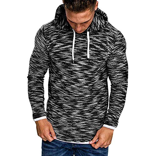 (COLOV Men's Casual Slim Sweater Sports Sweater Warm Long Sleeves(Black)