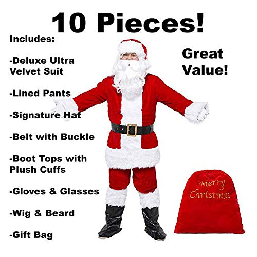 Costume Magic Deluxe Ultra Velvet Santa Suit 10 pc. -