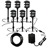 Portfolio Bluetooth Audio 6-Light Black Low Voltage LED Path Landscape Light Kit