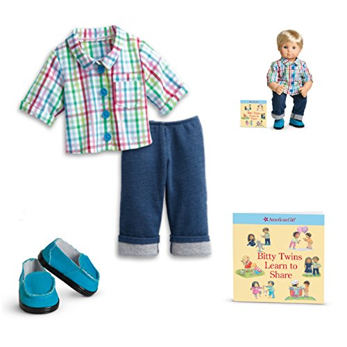 """American Girl Bitty Twin Rainbow Plaid Outfit for 15"""" Dolls (Doll Not Included)"""