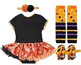 FANCYINN Halloween Tutu Dress 4 Pieces Set Pumpkin Patch Costume Outfit for Baby Girls Infant Party