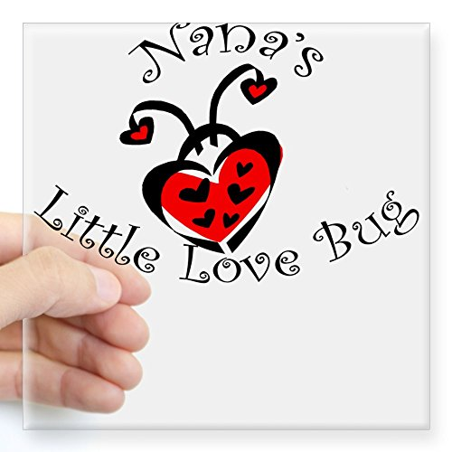 CafePress Nana's Love Bug Ladybug Square Sticker Square Bumper Sticker Car Decal, 3
