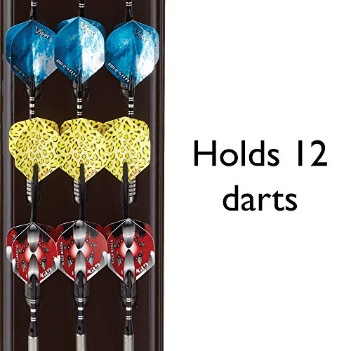 Viper Dart Caddy Solid Wood Wall Mounted Dart Holder / Stand, Displays 4 Sets of Steel or Soft Tip Darts, for all Sisal & Electronic Dartboards, Surrounds & Cabinets, Mahogany Finish