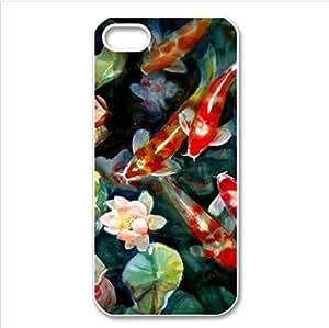 Beautiful Japanese koi pattern,the carp art Custom Case for iPhone 5C PC case cellphone cover white