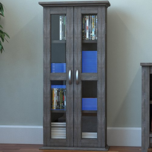 "Ryan Rove Kirkwell 41"" Wood Bookcase Multimedia Organizer Shelf DVD Media Storage Tower with Doors in Ash Grey"