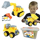 Kidtastic Construction Vehicles, STEM Learning (Set 68 Piece) Take Apart Fun (Pack of 3), Dump Truck, Cement Truck & Digger | with Tools and Electric Drill | Gifts for Boys & Girls Ages 3-6 yrs-Old