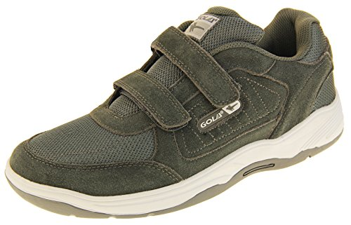- Gola Mens Ama202 Charcoal Grey Velcro Real Suede Leather Wide Fit EE Sneakers US 11
