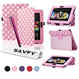 SAVFY� Kindle Fire HD Stylish Polka Dot PREMIUM Leather Case Cover Multi-Function Flip Pouch with Auto Wake and Sleep, includes Bonus: Screen Protector and Touch Stylus Pen - Multi-Colours Available (ONLY for New Kindle Fire HD, Oct.25 2012 Release) (Polka Dots, Light Pink)by SAVFY