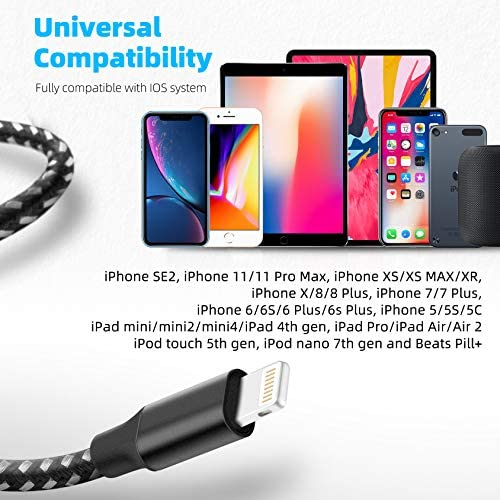 iPhone Charger, Bkayp 3Pack 10FT MFi Certified iPhone Charger Cable Nylon USB Fast Charging Cable with Compatible iPhone 12/Max/11Pro/11/XS/Max/XR/X/8/8P/7 and More - Black&White