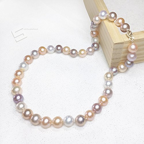 10-11MM Multicolored Pearls And Gold Necklace, AAA Grade Freshwater Cultured Pearls In 14KT Solid Gold Necklace, Fine Pearl Jewelry