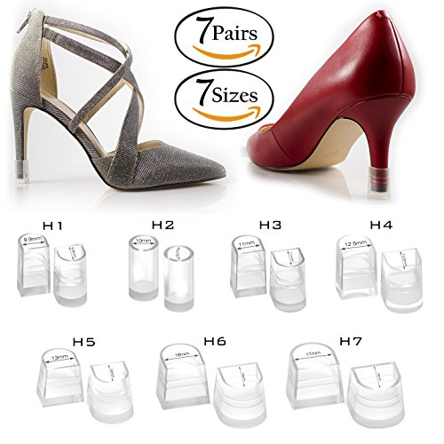 Clear-Glass High Heel Protectors & Heel Repair Replacement Caps [7 Pair 7 Sizes Assortment Pack, Fits Most Shoes & Stiletto Tips] - Anti-Slip Hunks Set