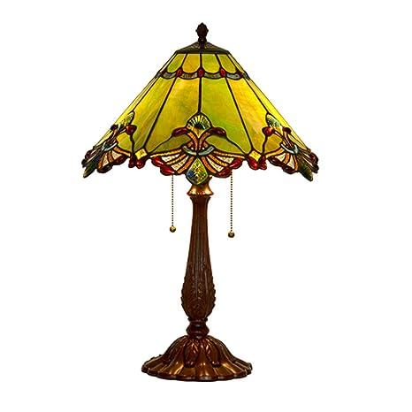 CCSUN Barroco Estilo tiffany Lámparas de mesa, Rojo 2-luce ...