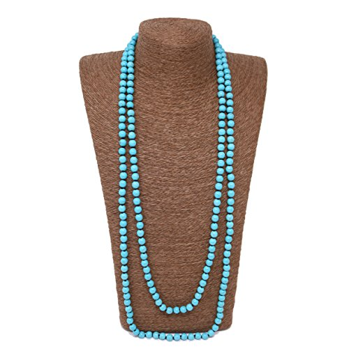 Beads Source Knotted Necklace 72 inches Round Turquoise Handmade Jewelry. (10mm, Blue) ()