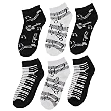 Women's Black White Music Notes, Piano Keys, Instruments Ankle Low Cut Socks, (6Pr)