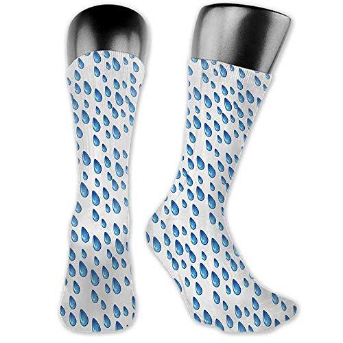 thin Silk socks Home Decor,Raindrops Fall Autumn Ritual Climate Liquid Gravity Water Cycle Air Mass Image,Blue White,socks for toddler girls grips