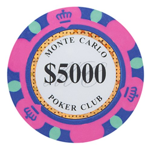 Casino Ace Poker Chip - Brybelly Monte Carlo Premium Poker Chips Heavyweight 14-gram Clay Composite – Pack of 50 ($5,000 Hot Pink)