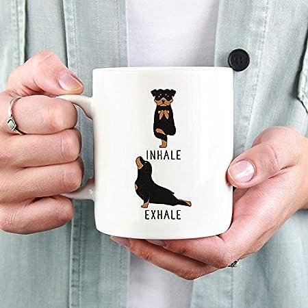 DKISEE Inhale Exhale Rottweiler Yoga Coffee Mug, Yoga ...